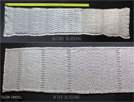 Guernsey Wrap - before and after blocking