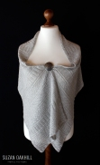 Guernsey Wrap - Front view with silver brooch