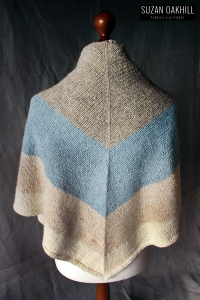Nordic Wind Shawl cabinfour owl quince knitting triangle back view
