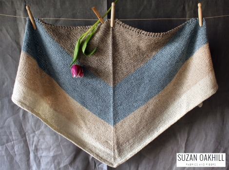 Nordic Wind Shawl cabinfour owl quince knitting triangle hanging